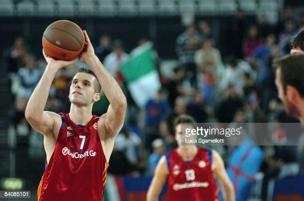 Sani Becirovic #7 of Lottomatica Roma during the Euroleague Basketball Game 8 match between Lottomatica Roma and Union Olimpija Ljubljana on December...