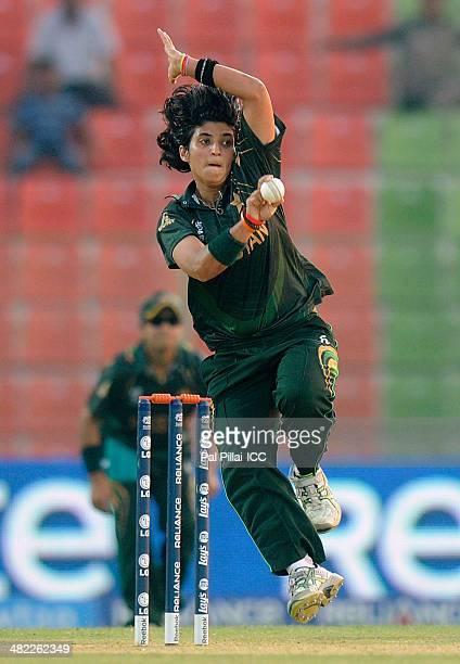 Sania Khan of Pakistan bowls during the ICC Women's World Twenty20 7th/8th place ranking match between Sri Lanka Women and Pakistan Women played at...