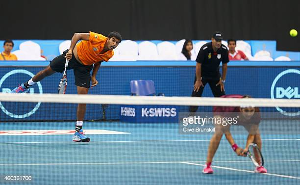 Sania Mirza and Rohan Bopanna of the Indian Aces in action against Kirsten Flipkens and Daniel Nestor of the Manila Mavericks during the CocaCola...