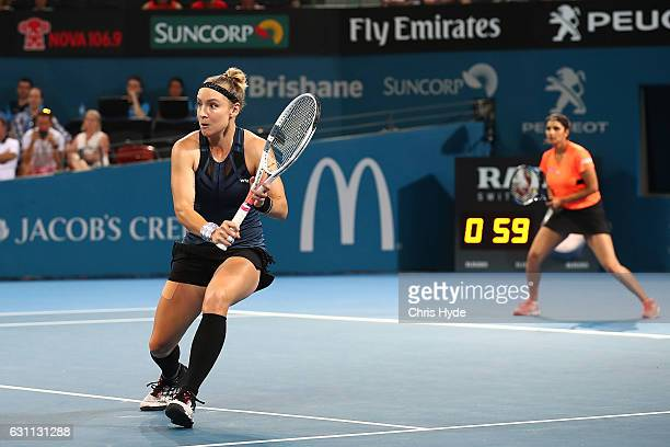 Sania Mirza of India and Bethanie MattekSands of the USA in action during the Women's Doubles Final against Ekaterina Makarova of Russia and Elena...