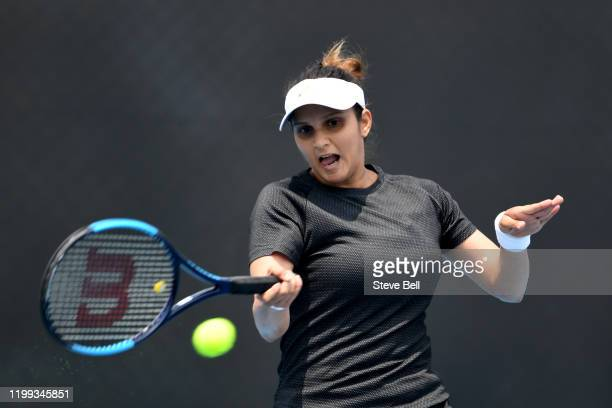 Sania Mirza of India plays a forehand shot during her first round doubles match on day four of the 2020 Hobart International at the Domain Tennis...