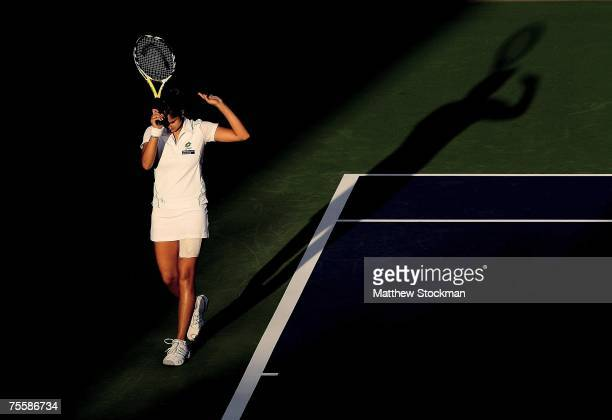Sania Mirza of India reacts to a lost point against Anna Chakvetadze of Russia during the Western & Southern Financial Group Women's Open July 21,...