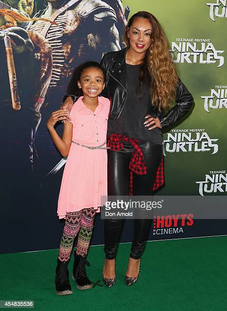 Sania Stevens and Prinnie Stevens arrive at the Sydney Premiere of Teenage Mutant Ninja Turtles at The Entertainment Quarter on September 7 2014 in...