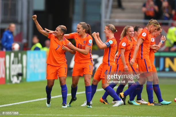 Sanice Van de Sanden of Netherlands Women celebrates after scoring to make it 10 during the UEFA Women's Euro 2017 Group A match between Netherlands...