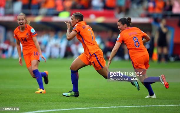 Sanice Van de Sanden of Netherlands Women celebrates after scoring to make it 10 during the UEFA Women's Euro 2017 Group A match between Netherlands...