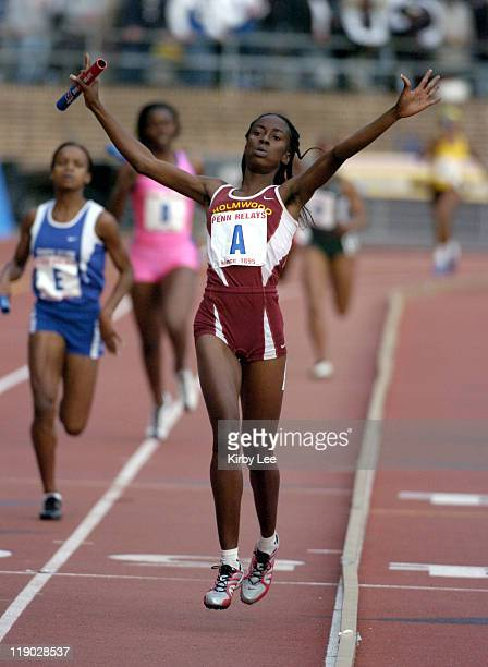 Sanita Sutherland anchors Holmwood Tech to victory in 34037 in the Championship of America girls 4 x 400meter relay in the 111th Penn Relays at...
