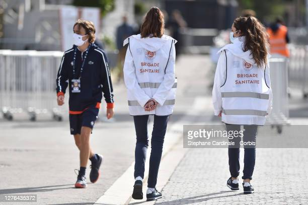 Sanitary Brigade checks during the Qualifying of the French Open at Roland Garros on September 24, 2020 in Paris, France.