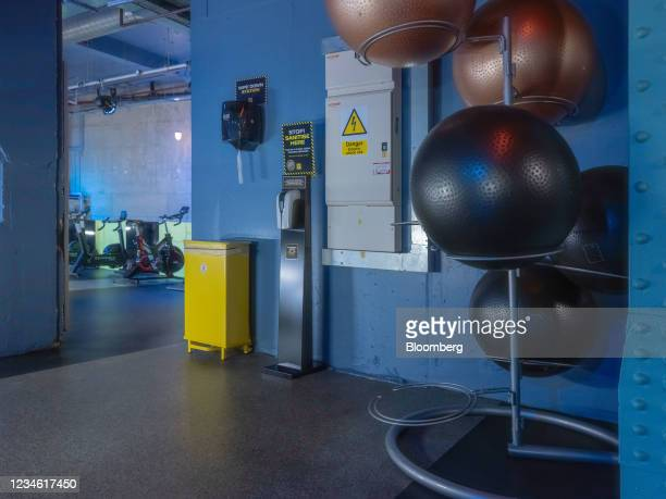 Sanitary measures at a Gymbox Ltd. Gym in the City of London, U.K., on Friday, July 9, 2021. With the vast majority of the Square Miles 500,000...