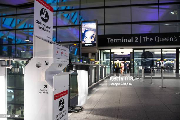 Sanitizer station for passengers outside Heathrow's Terminal 2 on December 22, 2020 in London, England. London and the South East have entered a...
