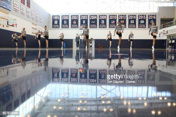 Saniya Chong Kia Nurse Batouly Camara Napheesa Collier and Gabby Williams of the UConn Huskies warming up with teammates under the supervision of...