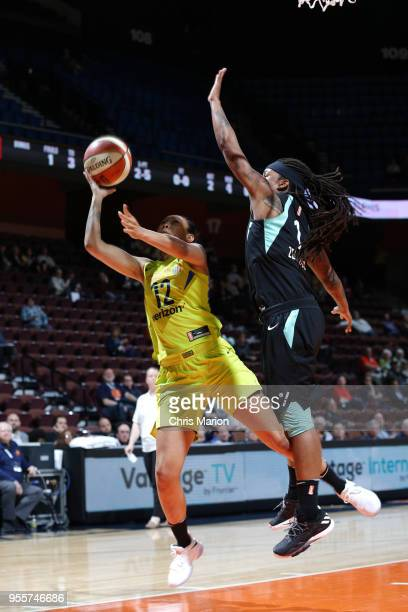 Saniya Chong of the Dallas Wings shoots the ball against the New York Liberty during a preseason game on May 7 2018 at Mohegan Sun Arena in...