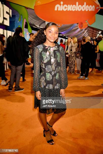 Saniyya Sidney attends Nickelodeon's 2019 Kids' Choice Awards at Galen Center on March 23 2019 in Los Angeles California