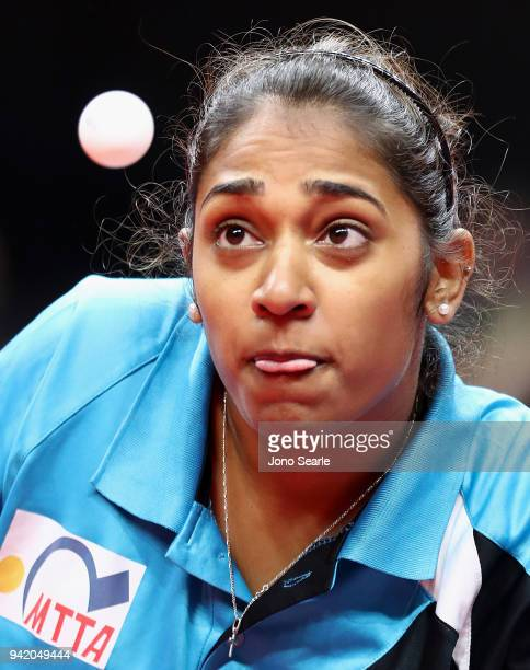 Sanja Ramasawmy of Mauritius competes during the Table Tennis women team preliminary round against Australia on day one of the Gold Coast 2018...