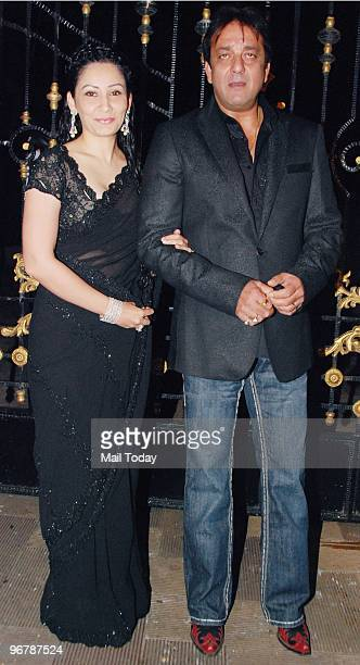 Sanjay and Maanyata Dutt at a party to celebrate their wedding anniversary in Mumbai on February 11 2010