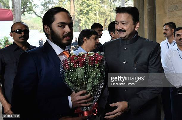 Sanjay Deshmukh ViceChancellor of Mumbai University welcomes Anant Ambani son of Reliance Industries Limited Chairman and Managing Director Mukesh...