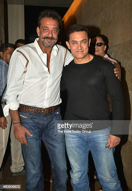 Sanjay Dutt and Aamir Khan at the special screening of film PK in Mumbai