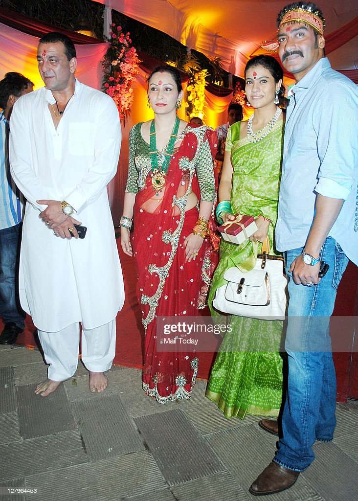 Sanjay Dutt and wife Manyata pose with Kajol and Ajay Devgan at Sanjay Dutt`s Mata Ki Chowki in Bandra on Monday 3rd October 2011