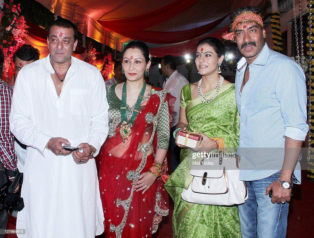 Sanjay Dutt and wife Manyata pose with Kajol and Ajay ...
