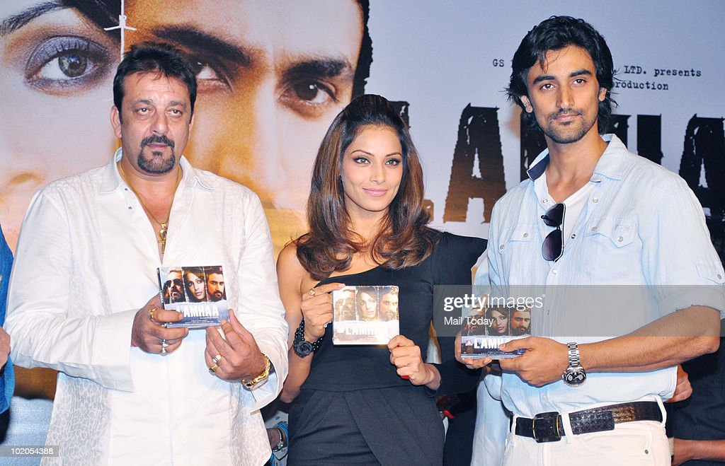 Sanjay Dutt Bipasha Basu and Kunal Kapoor at the music launch of the film `Lamhaa` in Mumbai on June 11 2010