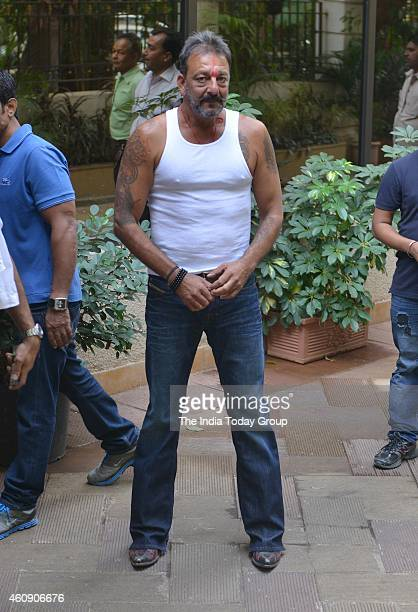 Sanjay Dutt out of jail on a two weeks furlough in Mumbai