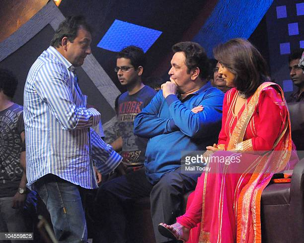 Sanjay Dutt Rishi and Neetu Kapoor on the sets of the reality show 'Sa Re Ga Ma Pa' in Mumbai on September 28 2010