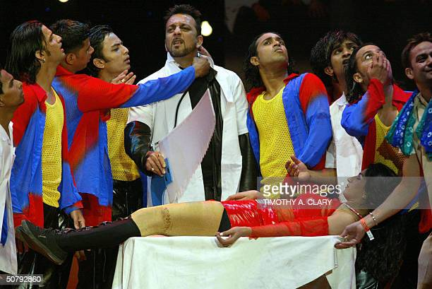 Sanjay Dutt winner of the Best Actor in a Sensational Role performs during the 2004 Bollywood Movie Awards at the Trump Taj Mahal 01 May 2004 in...
