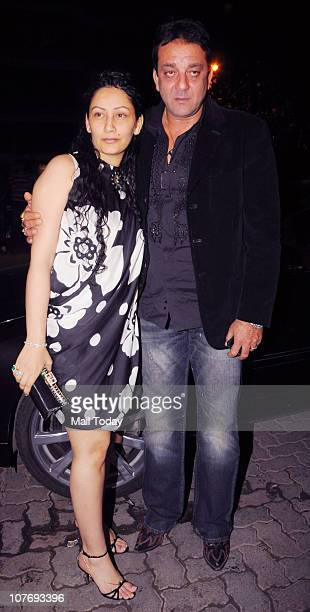 Sanjay Dutt with wife Manyata arrive at Sohail Khan's 40th birthday bash at Aurus in Mumbai