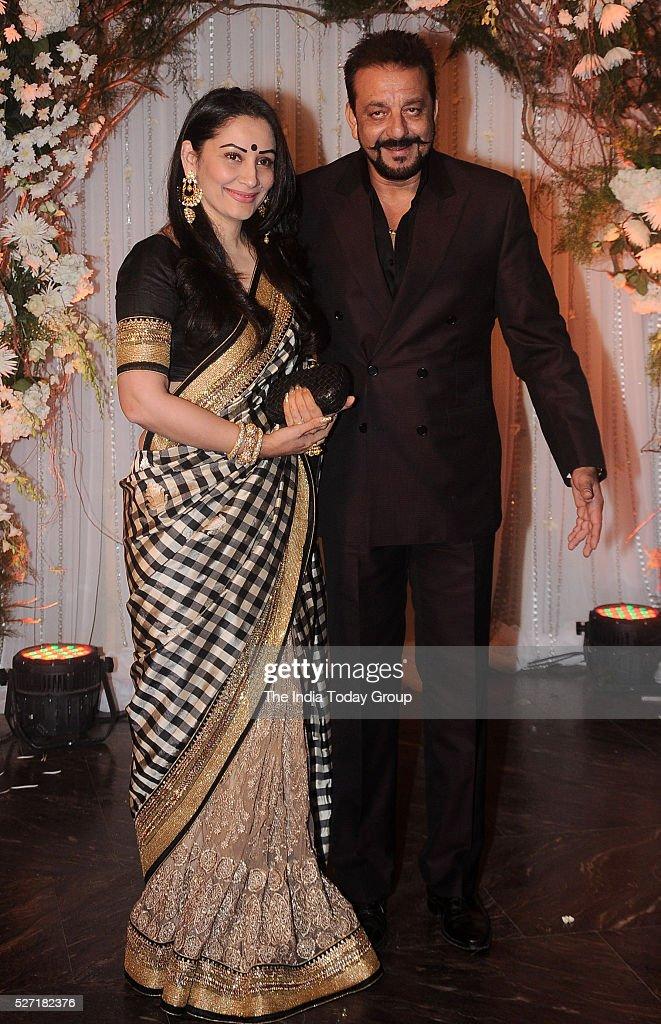 Sanjay Dutt with wife Manyata Dutt at Bipasha Basu and Karan Singh Grovers wedding reception ceremony at St Regis Hotel in Mumbai