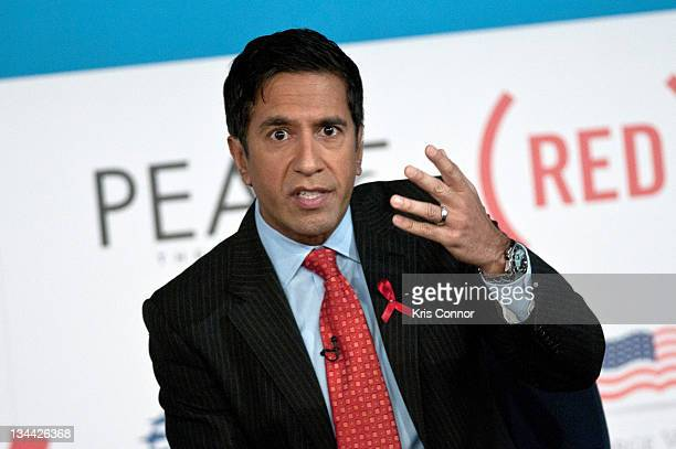 Sanjay Gupta speaks during the 2011 World AIDS Day discussion at George Washington University on December 1 2011 in Washington DC