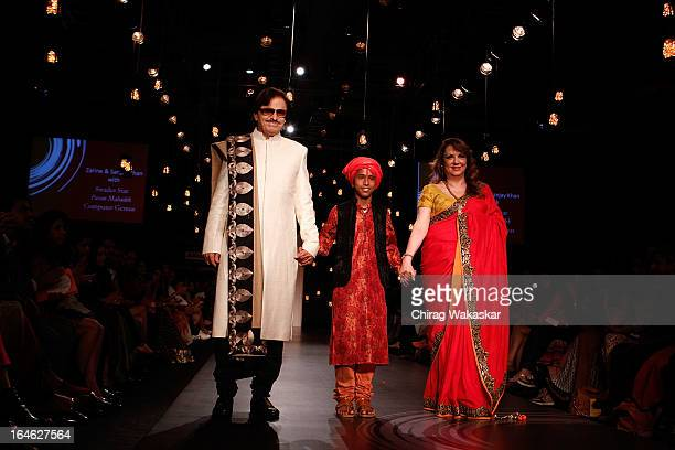 Sanjay Khan Pavan Mahadik Zarine Khan showcase designs by Vikram Phadnis on the runway during day four of Lakme Fashion Week Summer/Resort 2013 on...