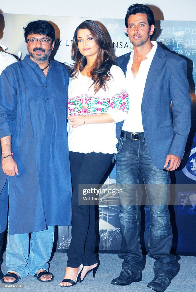 Sanjay Leela Bhansali Aishwarya Rai Bachchan and Hrithik Roshan at the unveiling of the first look of the film `Guzaarish` in Mumbai on September 23..