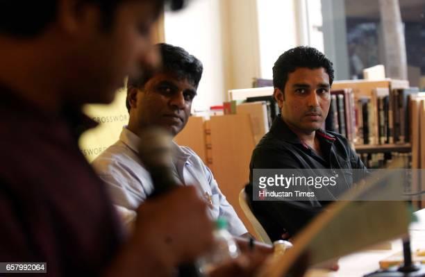 Sanjay Manjrekar and Harimohan Paruva at the reading of his new book The Men Withina cricketing tale at Crossroad Kemps Corner in Mumbai