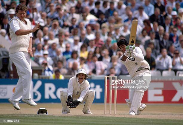 Sanjay Manjrekar batting for India during his innings of 93 on the third day of the 2nd Test match between England and India at Old Trafford in...