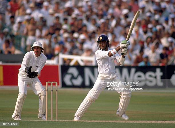 Sanjay Manjrekar during his innings of 59 for India in the 2nd Texaco Trophy One Day International match between England and India at Trent Bridge in...
