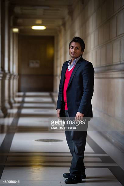 Sanjay Mirabeau lawyer of controversial French comedian Dieudonne M'Bala M'Bala poses on January 16 2014 in Paris French government lawyers argue the...