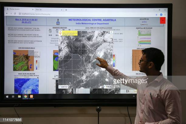Sanjay Sarma a scientist at the Indian Meteorological Department's Earth System Science Organisation monitors Cyclone Fani at his office on the...