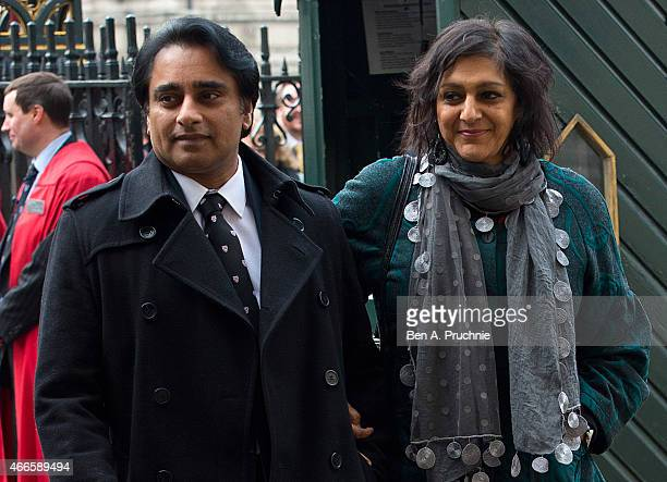 Sanjeev Bhaskar and Meera Syal attend a Memorial Service for Sir Richard Attenborough at Westminster Abbey on March 17 2015 in London England