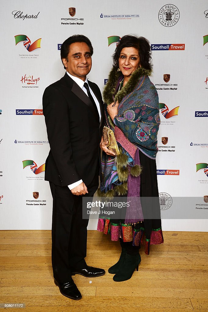 Sanjeev Bhaskar (L) and Meera Syal attend a reception and dinner for supporters of The British Asian Trust at Natural History Museum on February 2, 2016 in London, England.