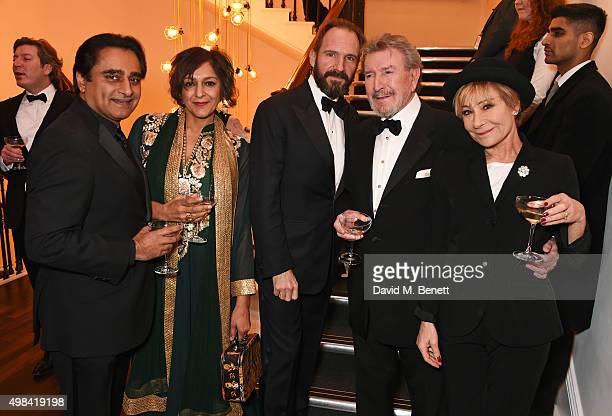 Sanjeev Bhaskar Meera Syal Ralph Fiennes Gawn Grainger and Zoe Wanamaker attend a champagne reception ahead of The London Evening Standard Theatre...