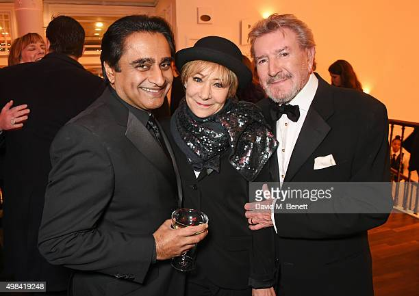 Sanjeev Bhaskar Zoe Wanamaker and Gawn Grainger attend a champagne reception ahead of The London Evening Standard Theatre Awards in partnership with...