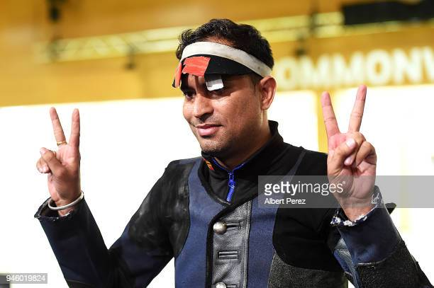 Sanjeev Rajput of India celebrates winning the Men's 50m Rifle 3P final during Shooting on day 10 of the Gold Coast 2018 Commonwealth Games at...