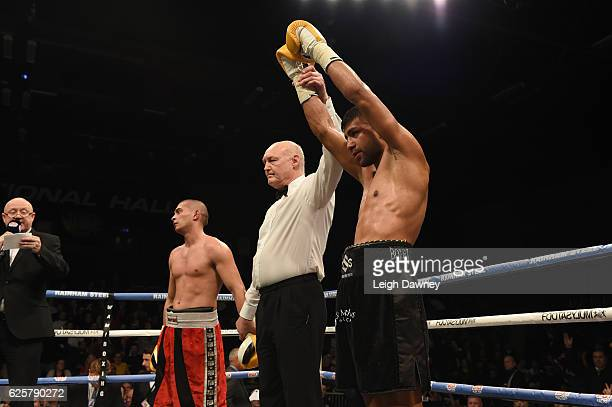 Sanjeev Sahota claims the Super Lightweight contest after defeating Gyula Tallosi at Brentwood Centre on November 25 2016 in Brentwood England