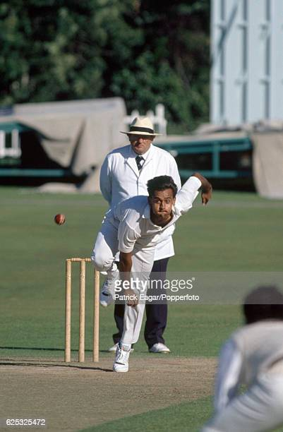 Sanjeev Sharma bowling for India during the tour match between Kent and the Indians at St Lawrence Ground Canterbury 7th July 1990 The umpire is...