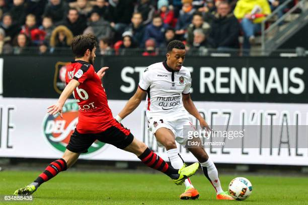 Sanjin Prcic of Rennes and Alassane Plea of Nice during the Ligue 1 match between Stade Rennais and OGC Nice at Roazhon Park on February 12 2017 in...
