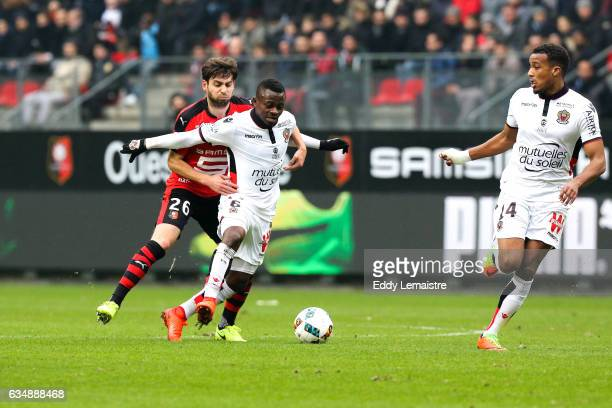 Sanjin Prcic of Rennes and Jean Michael Seri of Nice during the Ligue 1 match between Stade Rennais and OGC Nice at Roazhon Park on February 12 2017...