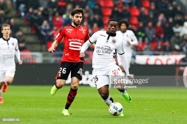 Sanjin Prcic of Rennes and Wylan Cyprien of Nice during the Ligue 1 match between Stade Rennais and OGC Nice at Roazhon Park on February 12 2017 in...