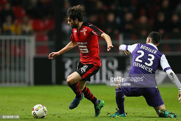 Sanjin Prcic of Rennes and Yann Bodiger of Toulouse during the French Ligue 1 match between Rennes and Toulouse at Roazhon Park on November 25, 2016...