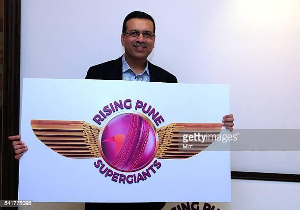 Sanjiv Goenka Chairman of RP Sanijv Goenka Group and owner of Pune IPL team holding logo of Rising Pune Supergiants on January 18 2016 in Kolkata...