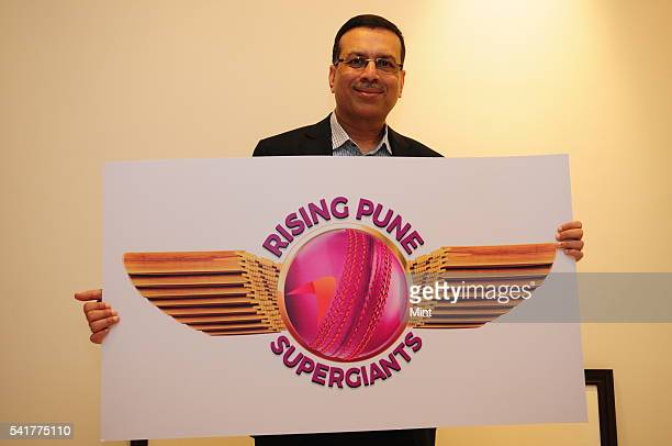 Sanjiv Goenka Chairman of RP Sanijv Goenka Group and owner of Pune IPL team holding logo of Rising Pune Supergiants on January 18 2016 in Kolkata...