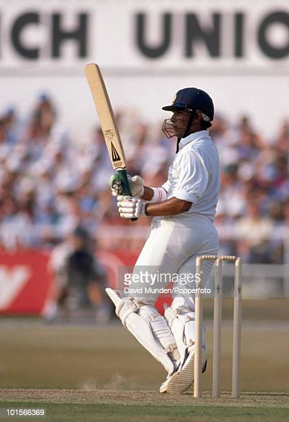 Sanjoy Manjrekar during his innings of 82 for India in the 1st Texaco Trophy One Day International match between England and India at Headingley in...